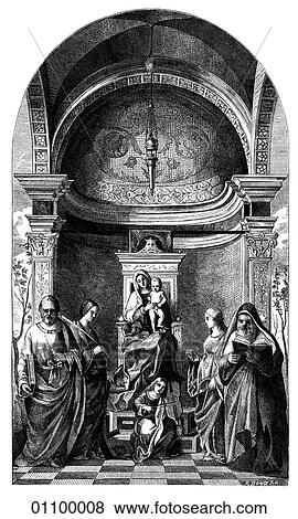 Stock Illustration of Paintings  Engravings  Engraving  Italy Santa Conversazione By