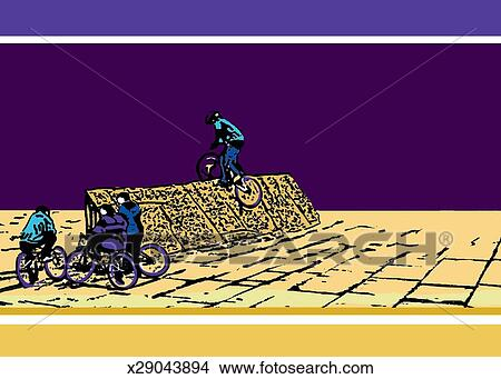 Bmx. 騎自行車的人. 在上. 同時。. 在旁邊. 斜坡梯 失量圖庫   x29043894   Fotosearch