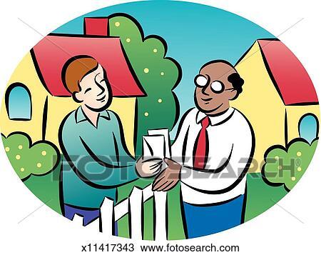 Man Talking to Neighbor Drawing | x11417343 | Fotosearch