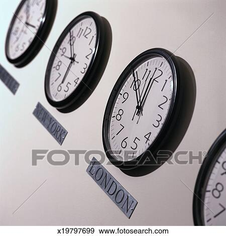 international clocks stock photo