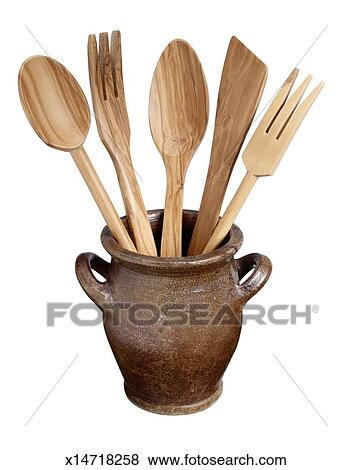 Clay Pot with Wooden Spoons and Forks Stock Photo | x14718258 | Fotosearch