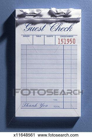 Stock Photography of Blank guest check from restaurant in