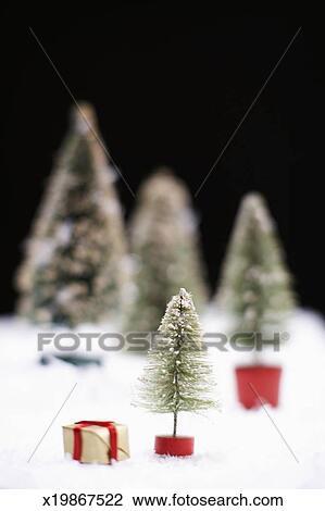 small christmas trees on