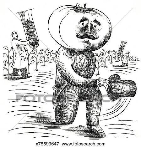 Stock Illustration of Genetic Engineering. Tomato Head