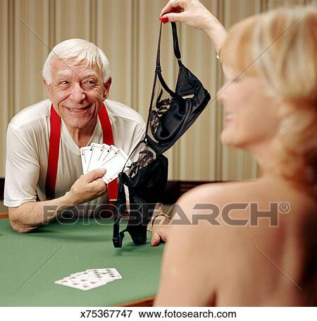 Picture Senior Man Winning Strip Poker Fotosearch Search Stock Photography Photos