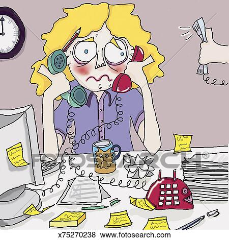 stock illustration of stressed