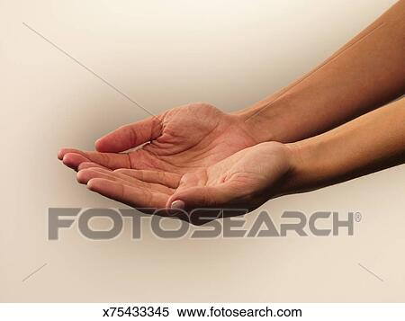 woman cupping hands stock