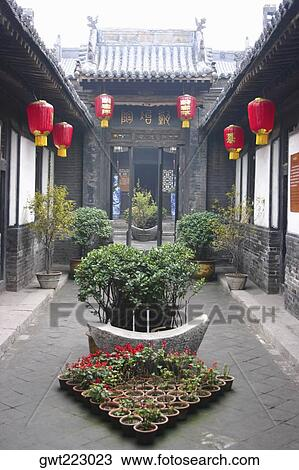Chinese Lanterns Hanging In The Courtyard Of A Building Pingyao Shaanxi Province China Stock Image