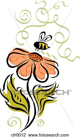 clip art of bee and flower cfr0012