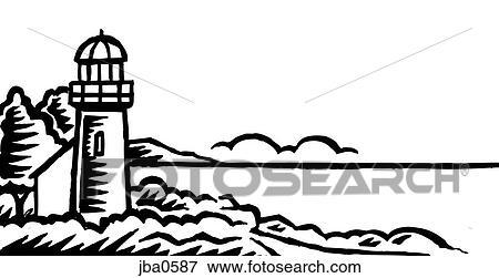 Stock Illustration of lighthouse and house b&w jba0587