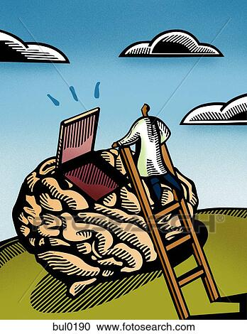 Doctor climbing a ladder to look inside a giant brain Clipart   bul0190   Fotosearch