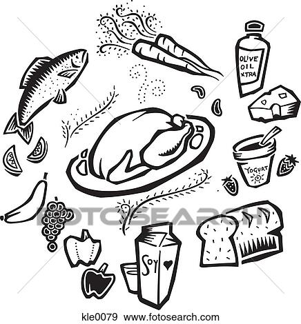 An illustration of foods in all the food groups Stock
