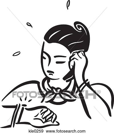 Stock Illustration of A worried woman on the cell phone