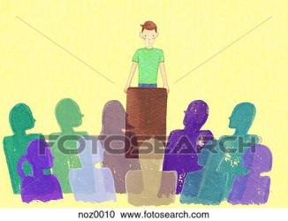 meeting hall town speaking person clipart fotosearch graphics illustration eps imz016