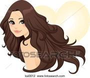 clip art of woman with long wavy