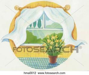 window open clip near flowers drawing fotosearch clipart