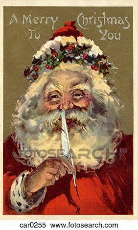 Stock Illustration Of Vintage Christmas Postcard Of Santa