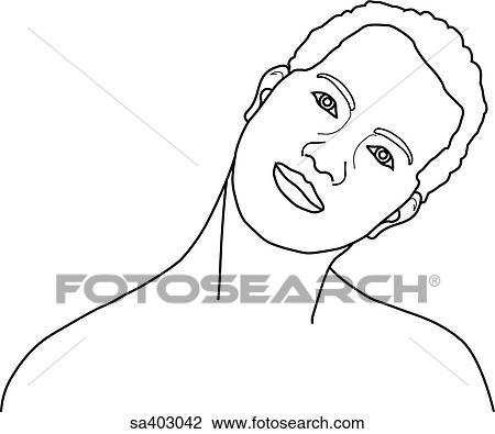 Clip Art of Anterior view of male head and neck bent to
