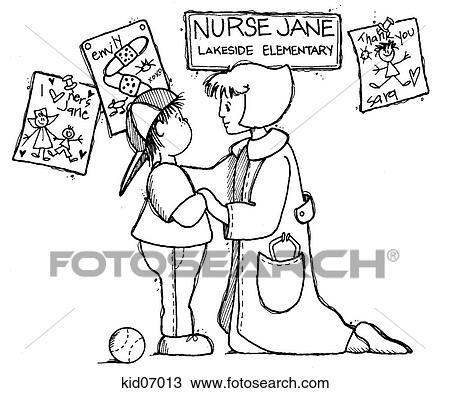Illustration of child with school nurse. Drawing