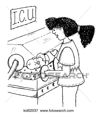 Stock Illustration of Illustration of nurse with premature