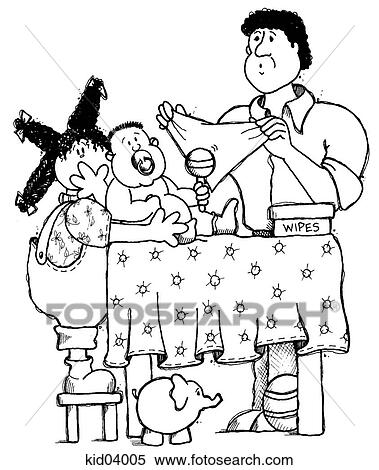 Stock Illustration of Illustration of father changing baby