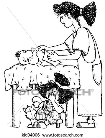 Stock Illustration of Illustration of mother changing