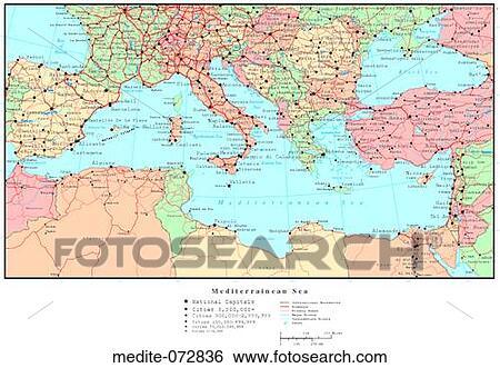 種類一應俱全的圖庫 - 地中海的地圖, 由于, 國家, 邊界 medite-072836 - 搜尋攝影作品,海報照片,照片和美工照片 ...