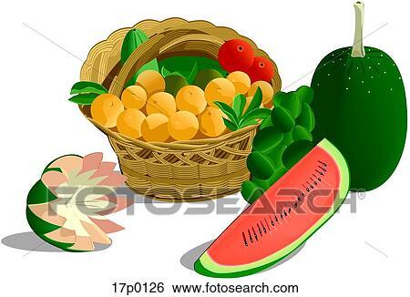 canasta de frutas clip art 17p0126
