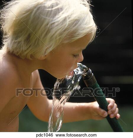 Stock Images of Little, bare-chested boy drinking water outside from a water hose. pdc1046 - Search Stock Photography, Poster Photos, Pictures ...