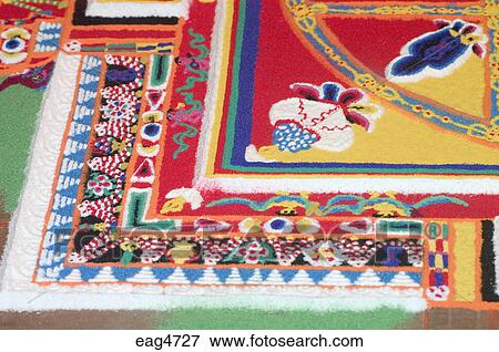A sand mandala in progress at the Lhakhang Karporling Chapel of Litang Chode Monastery - Kham, Sichuan, China, (Tibet) Stock Photo   eag4727 ...