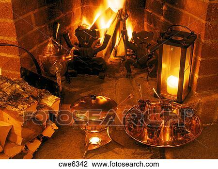 stock of warm fireplace