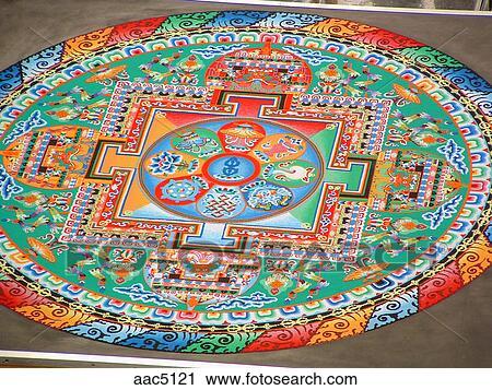 Tibetanisch, buddhistischer mönch, und, sand, mandala Stock Bild   aac5121   Fotosearch
