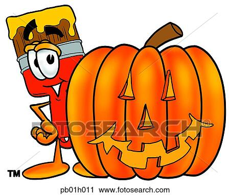 clipart of paint brush with pumpkin