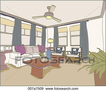 Stock Illustration of living room illustration 007a7509