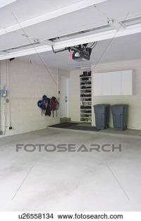 Stock Photo of GARAGE STORAGE: Clean storage shelves and ...