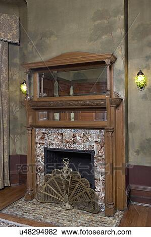 Stock Photo of FIREPLACES Arts And Crafts home antique