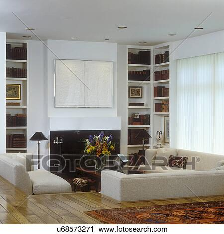 Stock Fotografie  Wohnzimmer, , Modernes, Creme, Sofas
