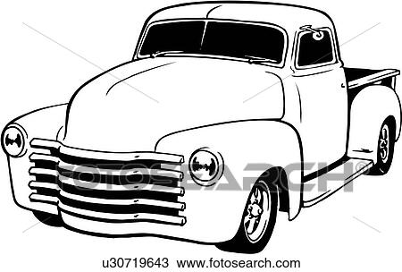 Clipart of illustration, lineart, classic, 1949, chevy