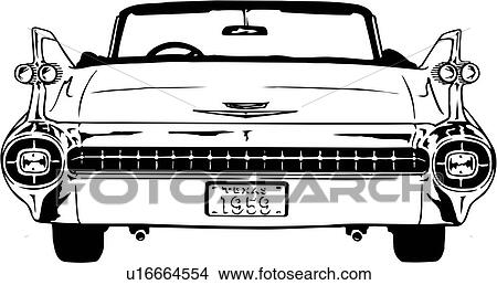 Clipart of illustration, lineart, classic, car, auto
