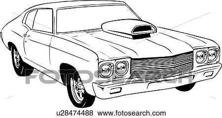 Illustration, lineart, classique, voiture, auto
