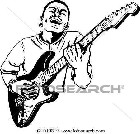 Illustration, lineart, guitar, player, guitarist, music
