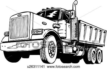 Clipart of illustration, lineart, dump, truck u26311141