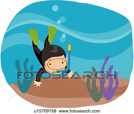 clip art of diving character