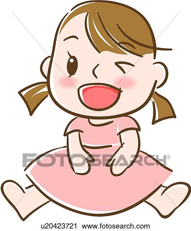 Clipart of smiling human ponytails winked sitting