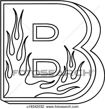 Clipart of , alphabet, b, capital, flaming block, hand