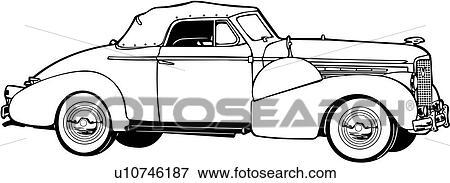 Clip Art of , 1920, 1930, 1938, 5067, automobile, car