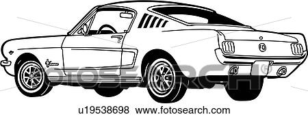 Clip Art of , 1965, 2, automobile, car, classic, fastback