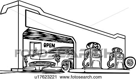 Clipart of , automobile, garage, trade, car, gas, hot rod