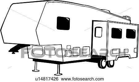 Clip Art of , camper, fifth, recreation, recreational, rv