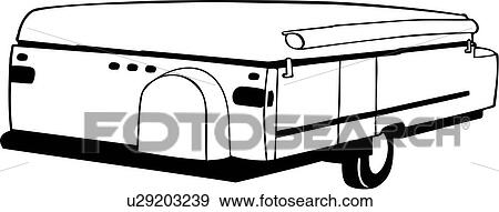 Clip Art of , camper, folding, recreation, recreational